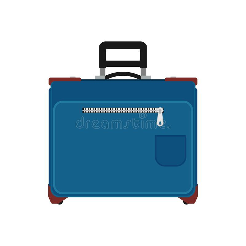 Suitcase travel front view vector icon. Baggage vacation bag isolated white. Journey handle blue trolley valise vector illustration