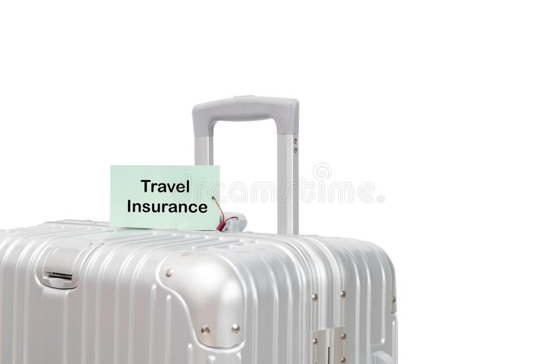 Suitcase with TRAVEL INSURANCE label isolated stock photography
