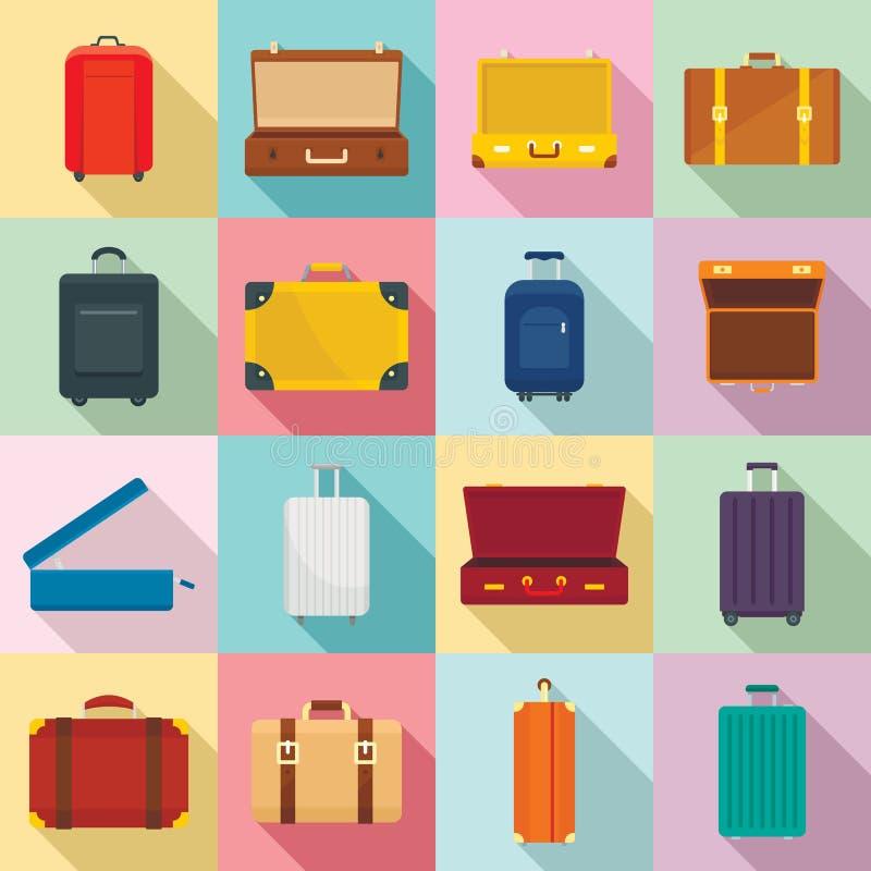 Suitcase travel luggage bag icons set, flat style. Suitcase travel luggage bag briefcase icons set. Flat illustration of 16 Suitcase travel luggage bag briefcase stock illustration