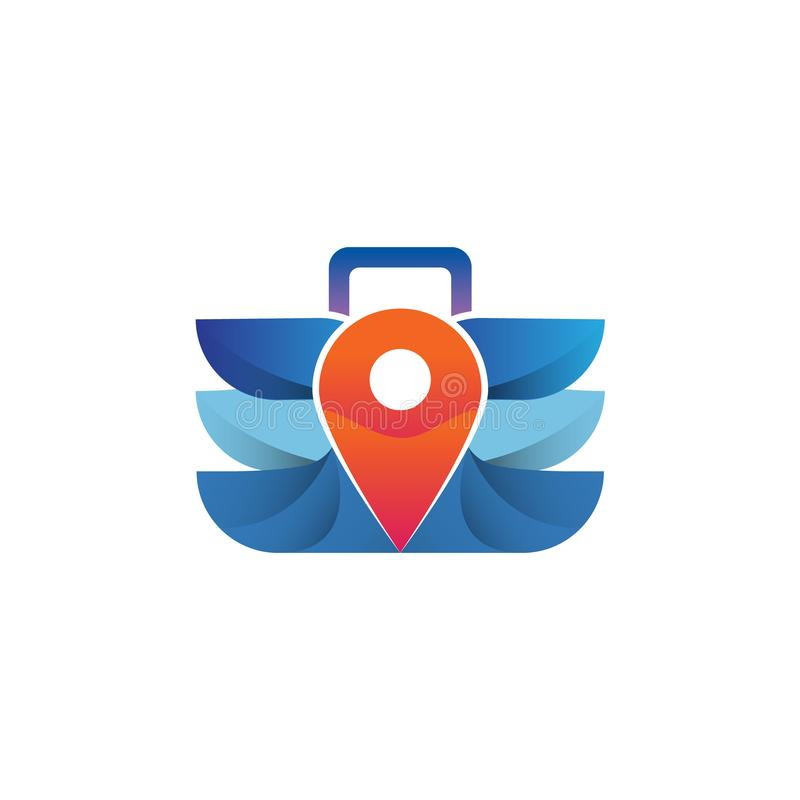 Suitcase Travel with Modern and Minimal Style Logo Stock for Agency. Travel Logo concept with Suitcase and Wing with map navigation in the center Stock for stock illustration