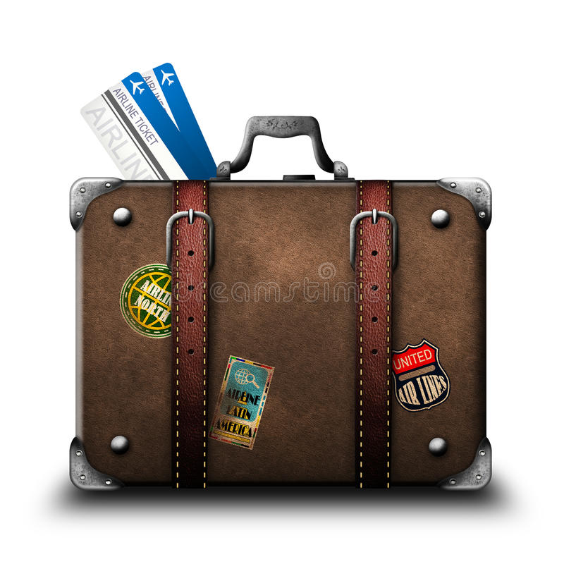 Suitcase traveler with stickers and air tickets
