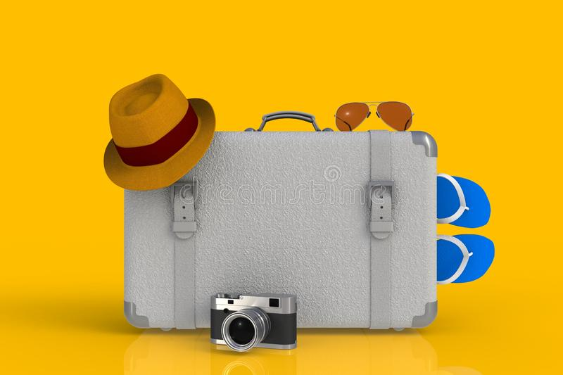 Suitcase of a traveler with straw hat and retro film photo camera on yellow background stock illustration