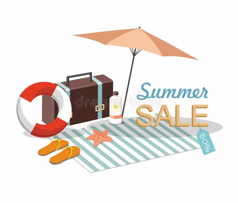 Suitcase, umbrella and Beach Accessories . Discount Summer sale goods stock illustration