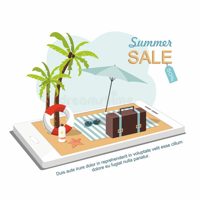 Suitcase, umbrella and Beach Accessories on smartphone. Isometric  Illustration .Summer sale goods. stock illustration