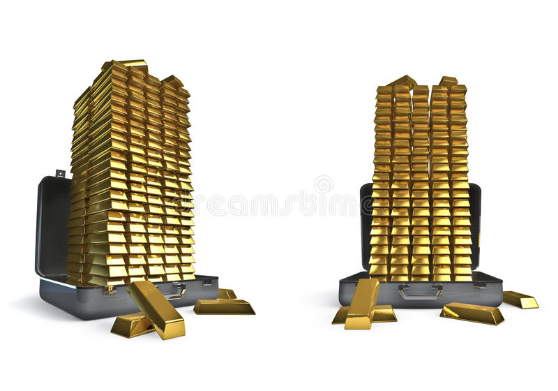 Suitcase very full of gold bars vector illustration