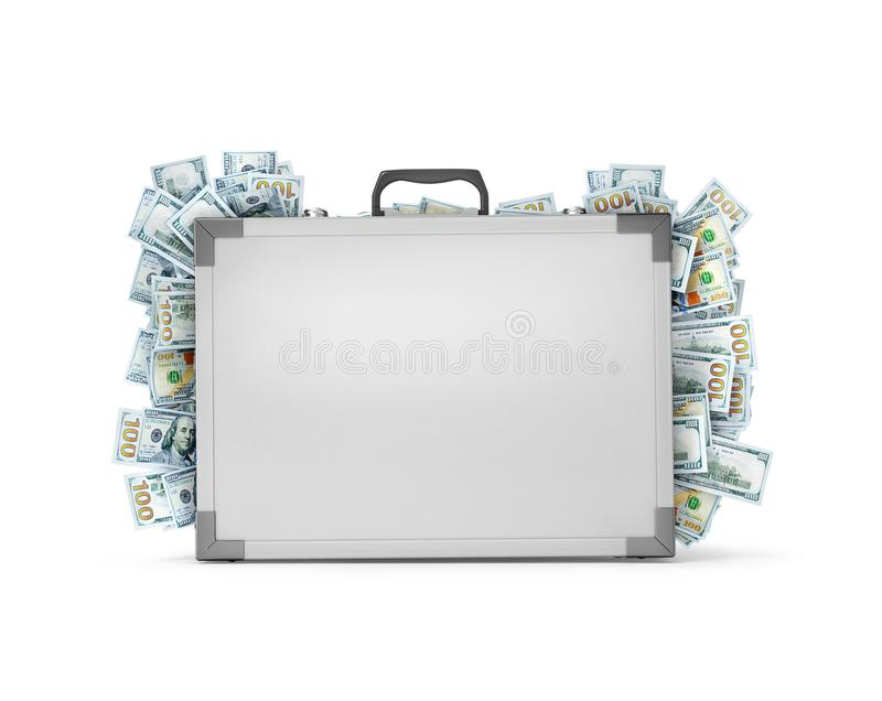A suitcase from which stick out money. 3d illustration stock illustration