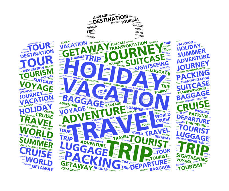 Suitcase word cloud for world travel and vacations. Word cloud in the shape of a suitcase based on travel and summer vacations royalty free illustration