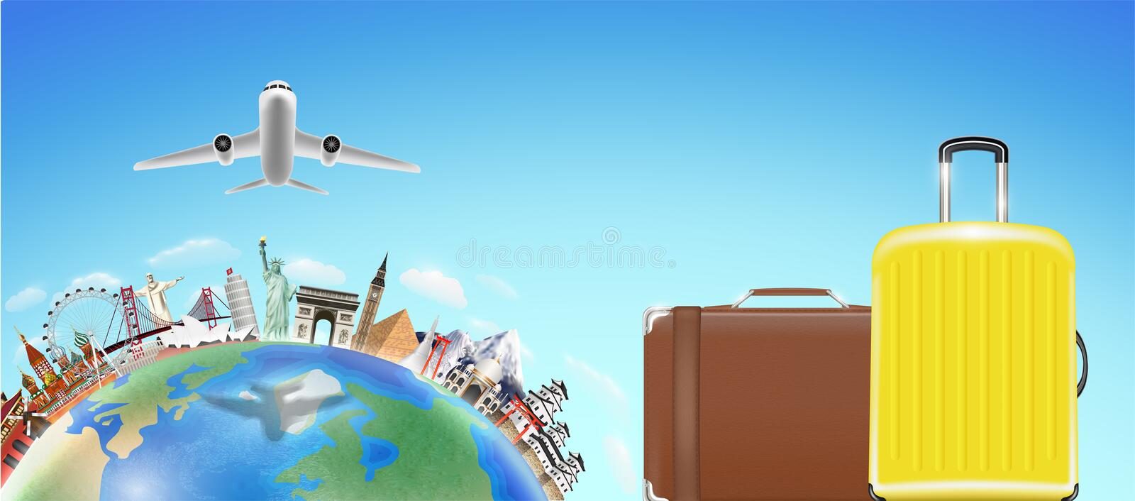 Suitcase with world travel landmark and airplane stock illustration