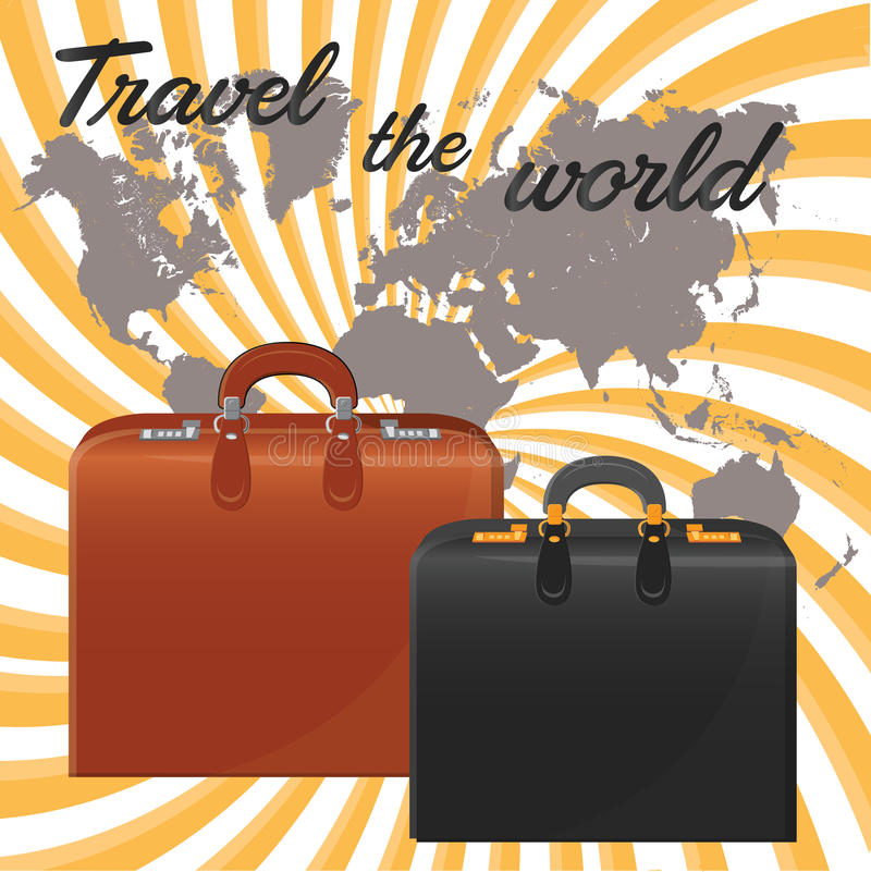Suitcases. Against the background of the world map. Vector royalty free illustration