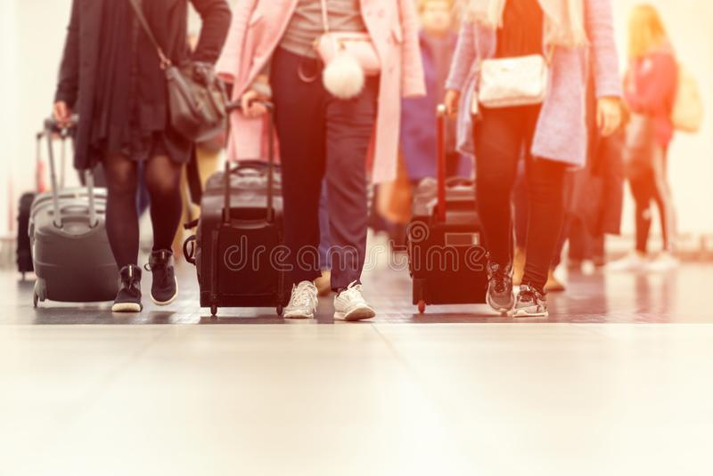 Suitcases in airport terminal waiting area. Suitcases airport terminal waiting area stock image