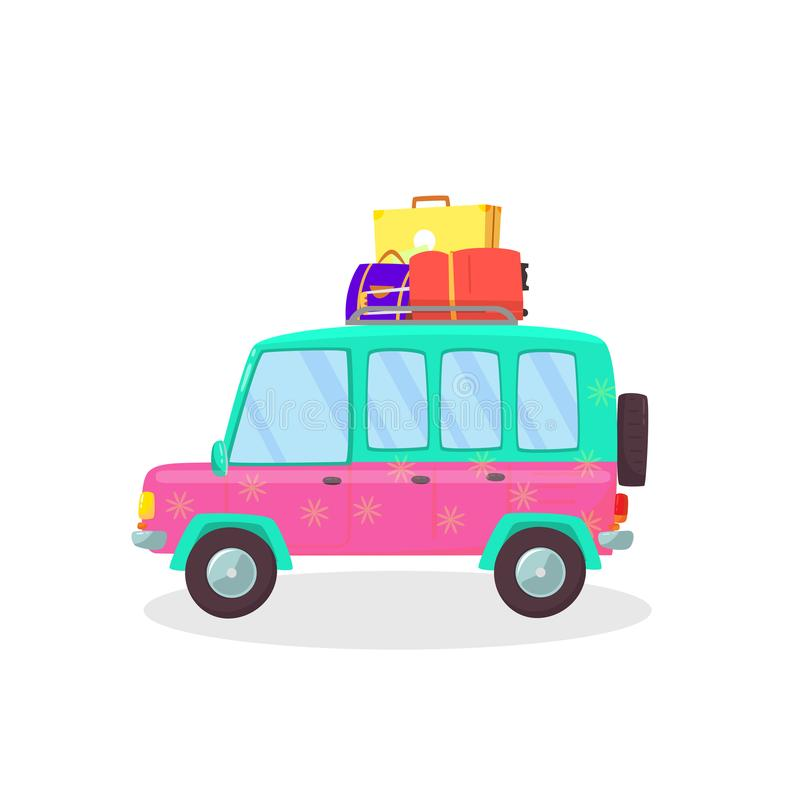 Suitcases and Bags in Car Trunk Ready for Holidays royalty free illustration