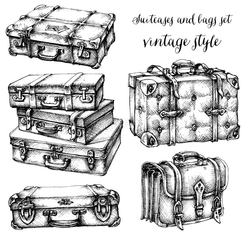 Suitcases and bags. Icon set, hand drawn in vintage style vector illustration