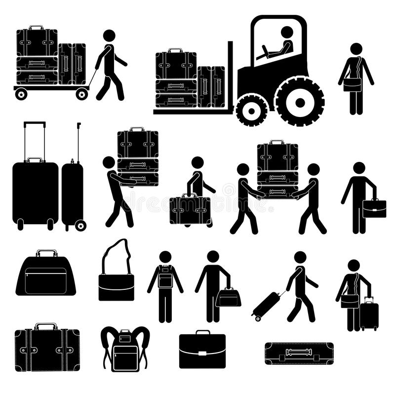 Download Suitcases icons stock vector. Image of person, passenger - 32797750