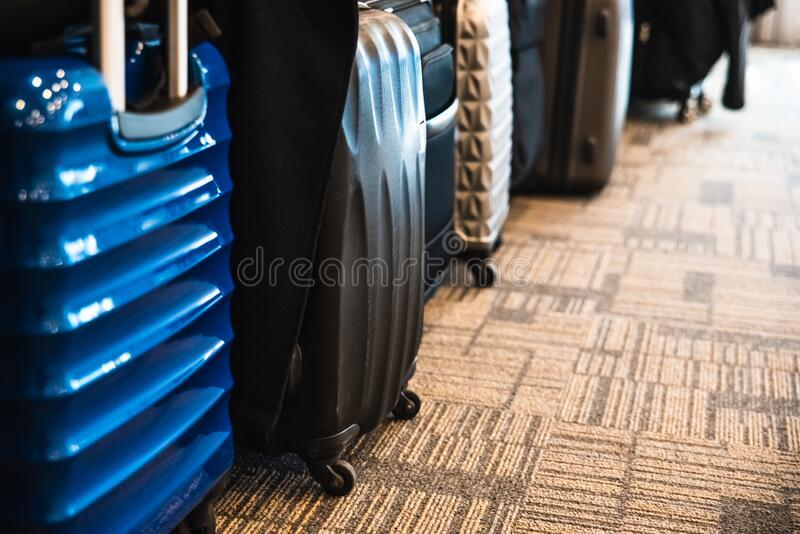 Suitcases in the lobby of a hotel waiting for the start of a tourist trip.  stock images
