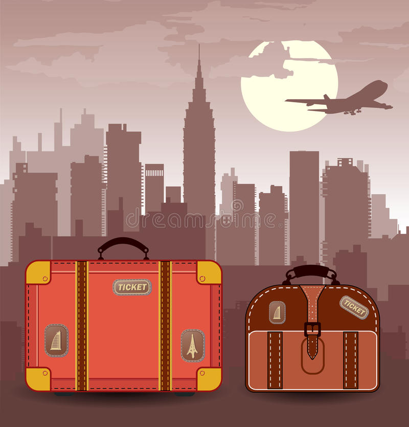 Suitcases for travel stock illustration