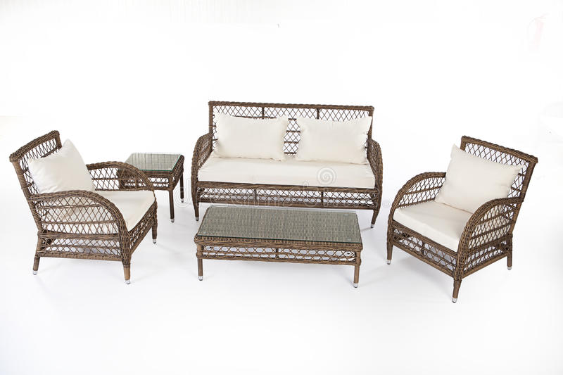 Suite des meubles en osier image libre de droits