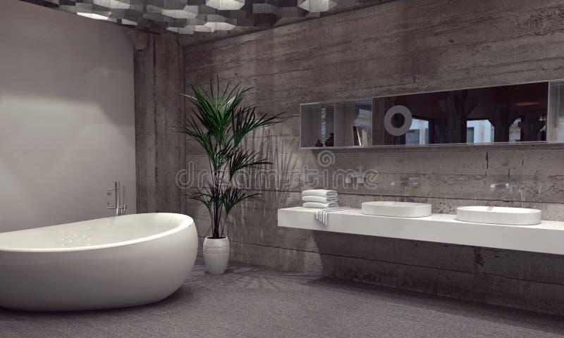 Suite moderne de salle de bains dans une salle de bains grise illustration de vecteur