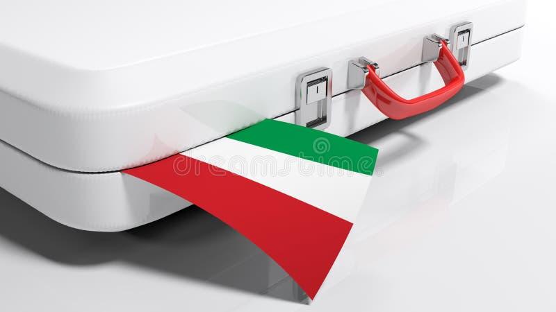 Suitecase branco com bandeira húngara - ilustração da rendição 3D ilustração stock