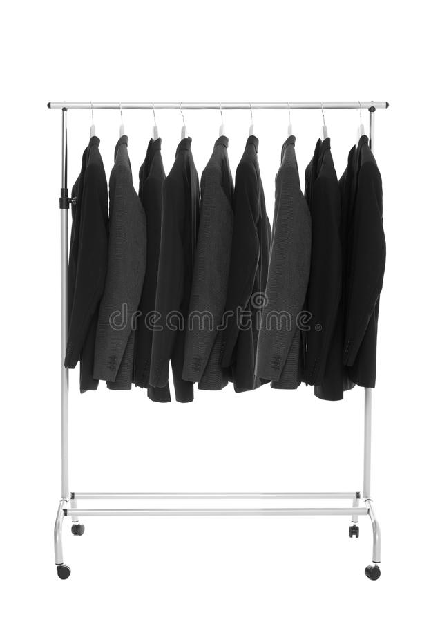 Suits on a Dress Rack stock photos