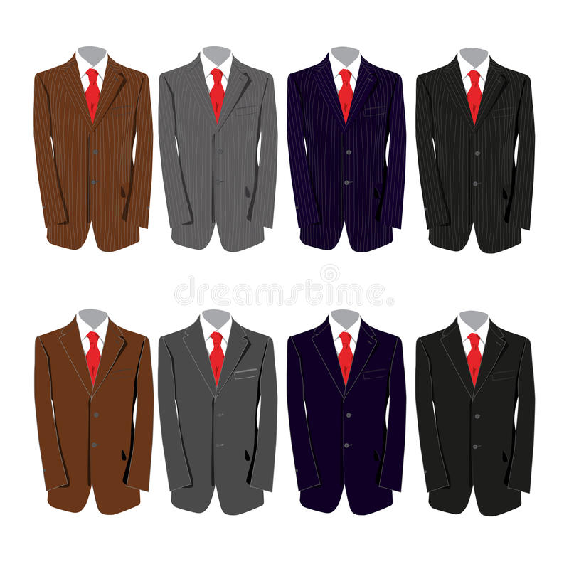 Suits. Eight different colored suits for a business man stock illustration