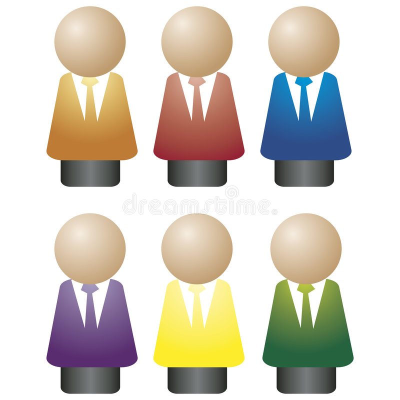 Suits icons. Illustration of a toy figure wearing a suit vector illustration