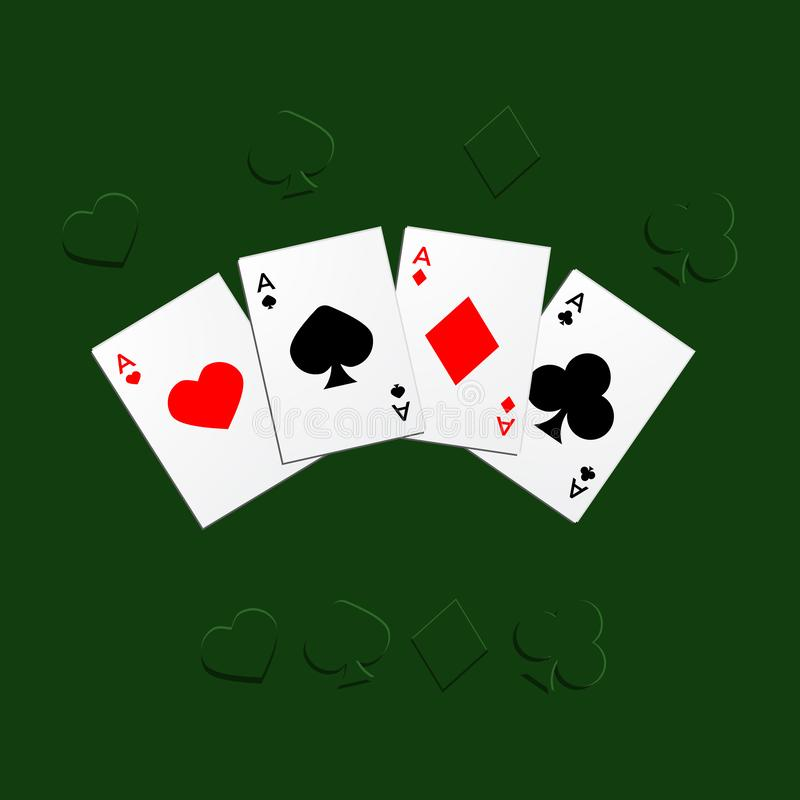 Suits of playing cards. Four aces vector illustration, suits of playing cards royalty free illustration