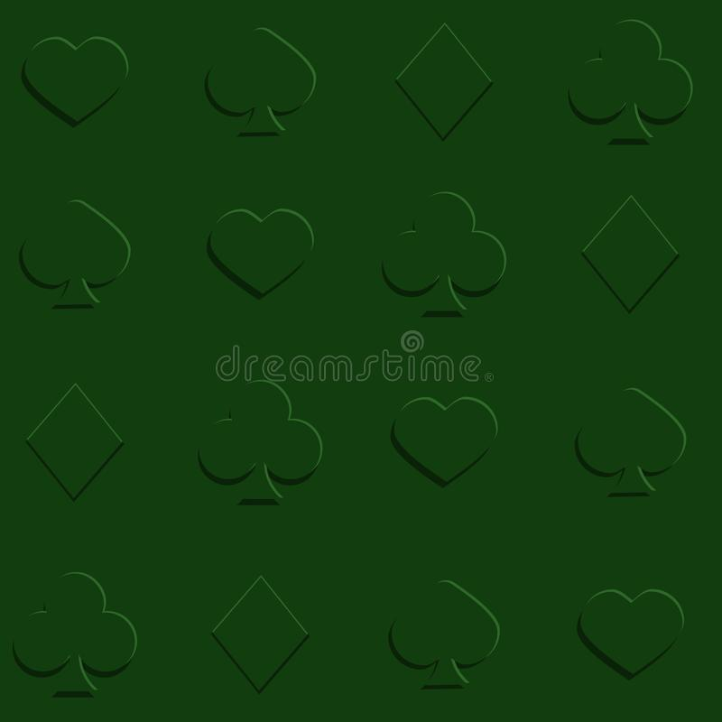 Suits of playing cards. Green pattern stock illustration