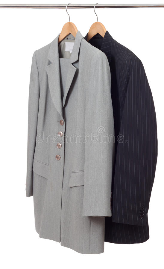 Suits on the rack stock images