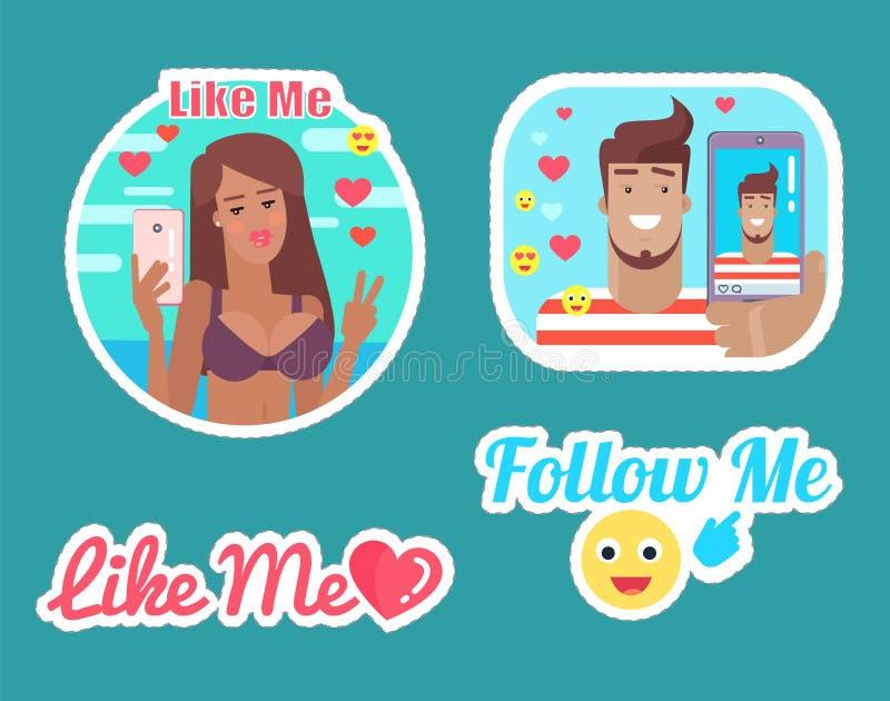 Suivez-et aimez-moi mâle de Bloggers et vecteur femelle illustration de vecteur