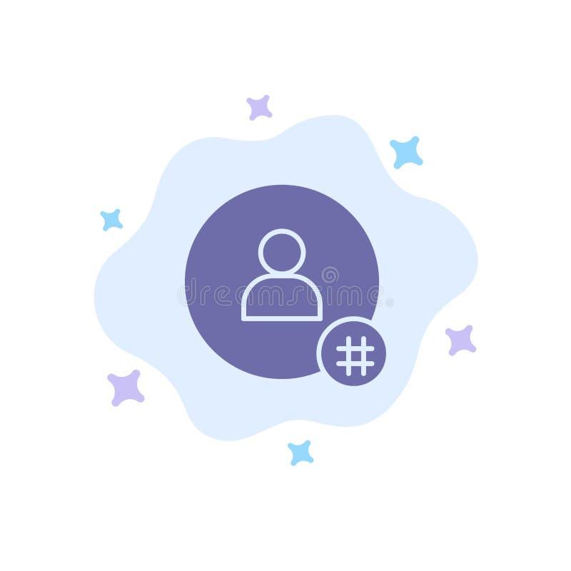 Suivez, hachez l'étiquette, bip, Twitter, icône bleue de contact sur le fond abstrait de nuage illustration libre de droits