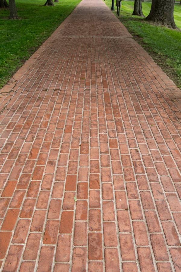 Suivez la voie de brique rouge photographie stock
