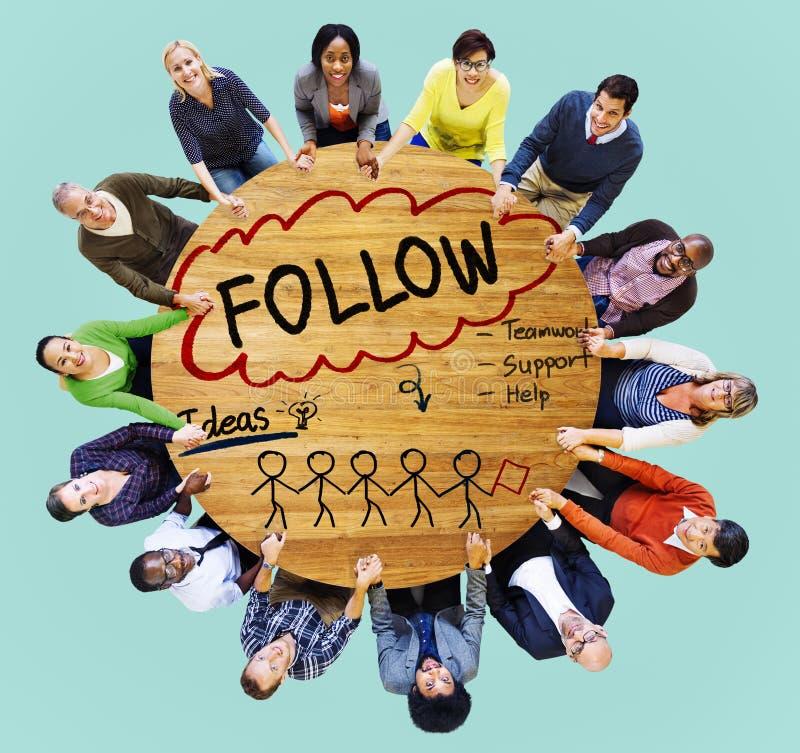 Suivez la voie souscrivent le concept social de media photos stock