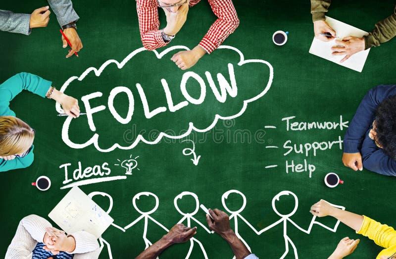 Suivez le concept social de media de travail d'équipe d'idées de soutien photos stock