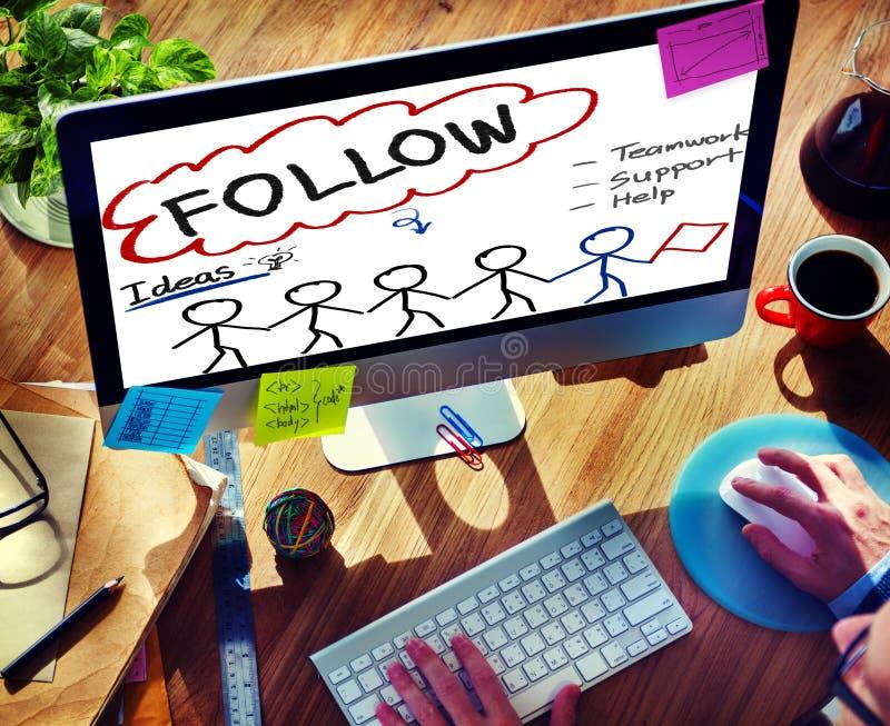 Suivez le concept social de media de travail d'équipe d'idées de soutien photographie stock libre de droits