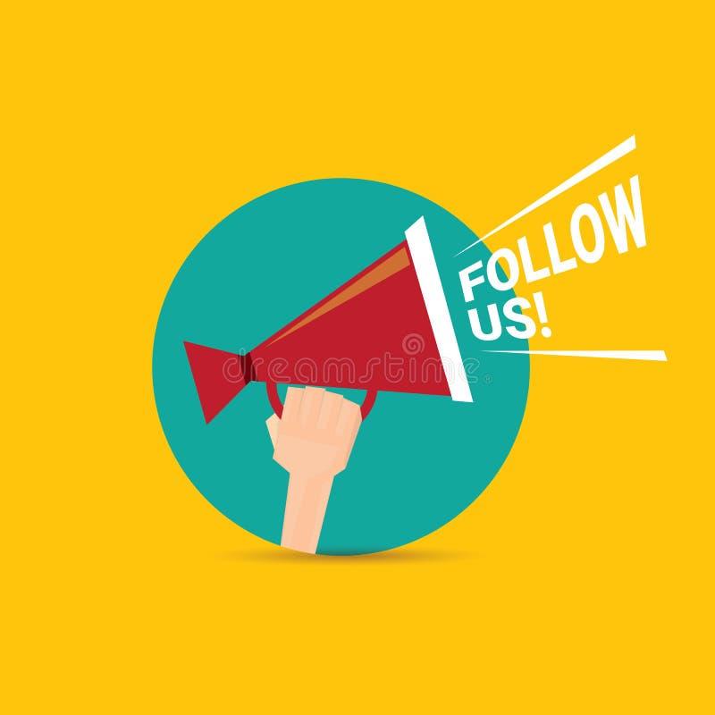 Suivez-nous bannière de vecteur Suivez-nous concept illustration libre de droits