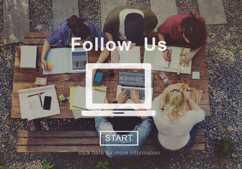 Suivez-nous concept social de technologie de media de site Web en ligne photo libre de droits