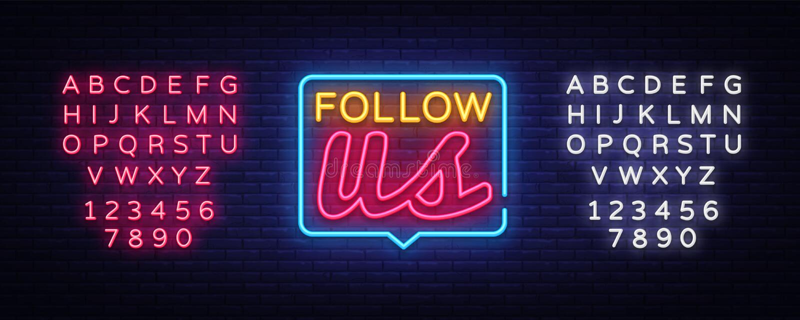 Suivez-nous le vecteur au néon des textes Suivez-nous enseigne au néon, calibre de conception, conception moderne de tendance, en illustration de vecteur