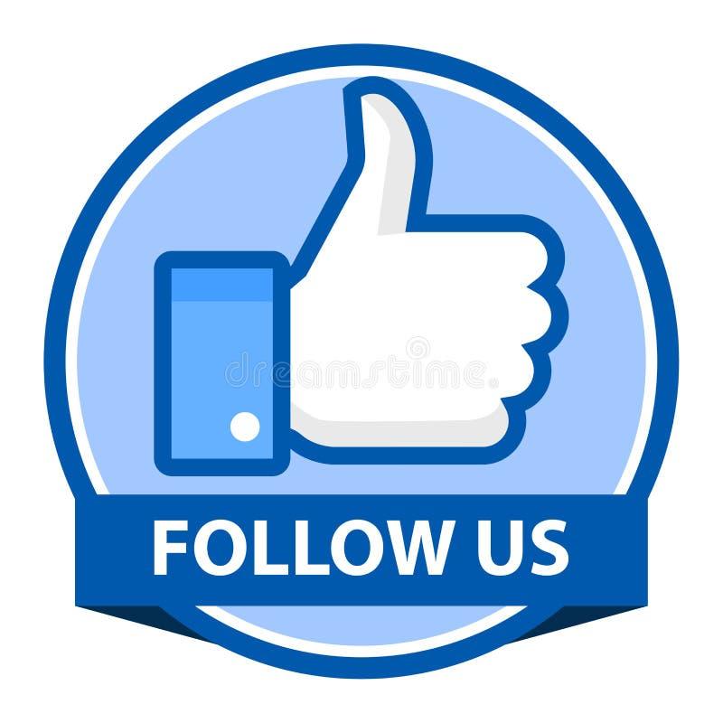 Suivez-nous sur l'insigne de facebook illustration de vecteur