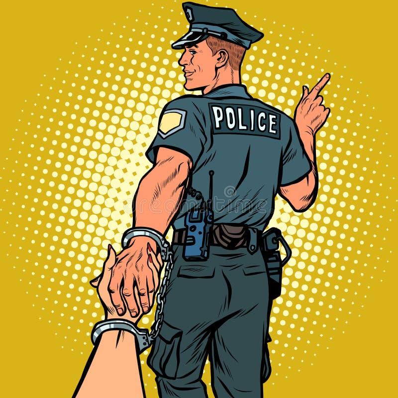 Suivez- quemoi le policier a arrêté la femme Concept d'amour et de mariage illustration libre de droits
