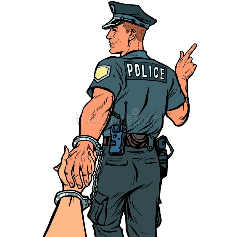 Suivez- quemoi le policier a arr?t? la femme Isolat sur le fond blanc illustration stock