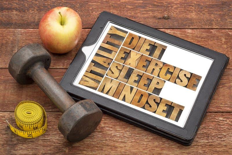 Suivez un régime, dormez, exercice et mentalité - vitalité photo libre de droits