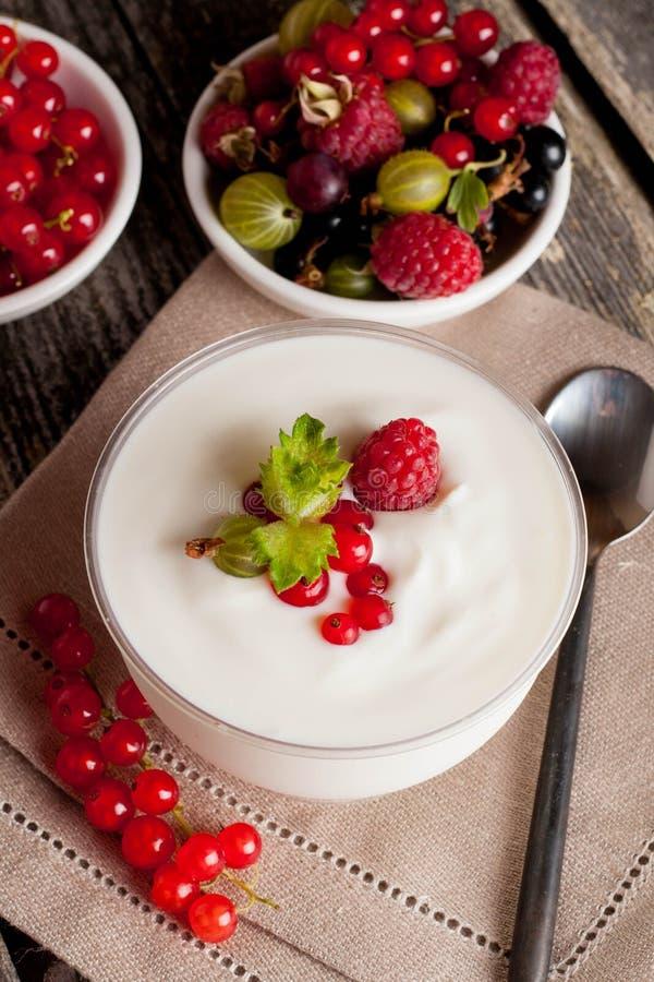 Suivez un régime le dessert avec du yaourt et les baies fraîches, plan rapproché photo stock