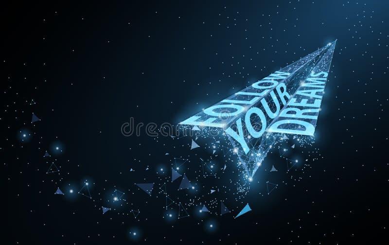 Suivez vos rêves Bas poly avion de papier avec le slogan de motivation sur bleu-foncé avec des points et des étoiles illustration de vecteur