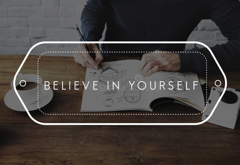 Suivez vos rêves croient en vous-même le font se produire concept images libres de droits
