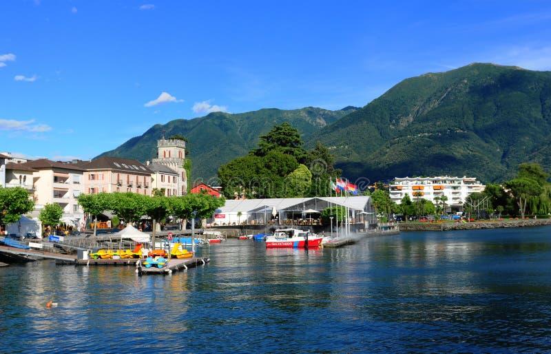 Suiza: Ascona-ciudad en el lago Maggiore en Tesino imagen de archivo