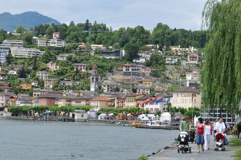 Suiza del sur: Ascona-ciudad en el lago Maggiore en el cantón Tesino foto de archivo libre de regalías