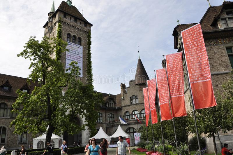 Suiza: exposición en el Museo Nacional suizo en ricos del ¼ de ZÃ imagen de archivo