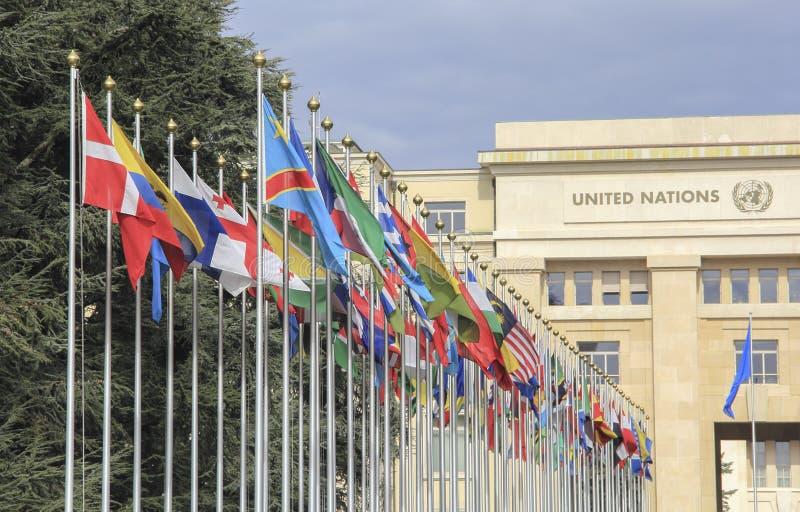 Suiza; Ginebra; 9 de marzo de 2018; Dos filas del Natio unido imagen de archivo