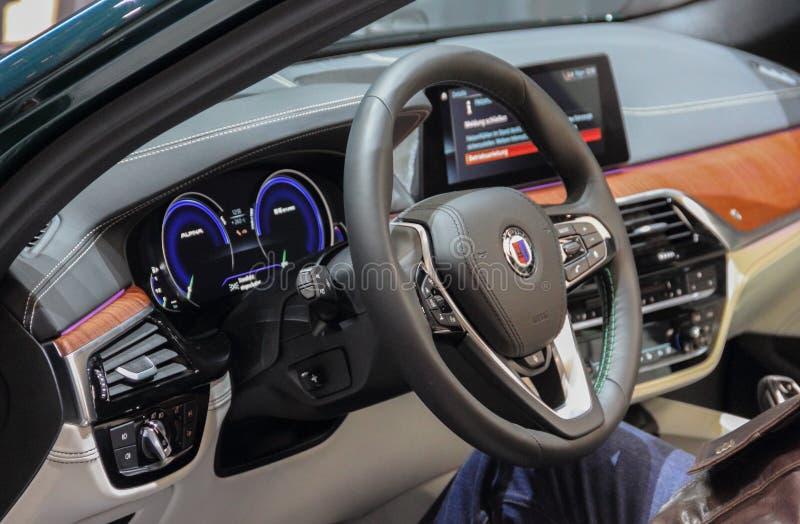 Suiza; Ginebra; 9 de marzo de 2019; El viajar de BMW Alpina B5 BI-Turbo AWD; El 89.o sal?n del autom?vil internacional en Ginebra foto de archivo libre de regalías
