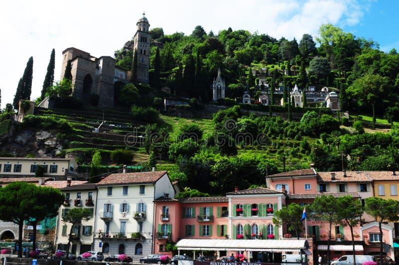 Suiza: Morcote en el lago Lugano en Tesino fotos de archivo libres de regalías